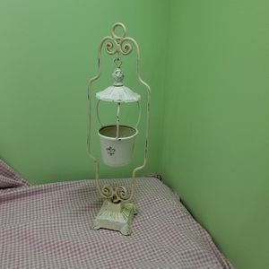 Vintage Cottage Chic Patinaed Candle Holder